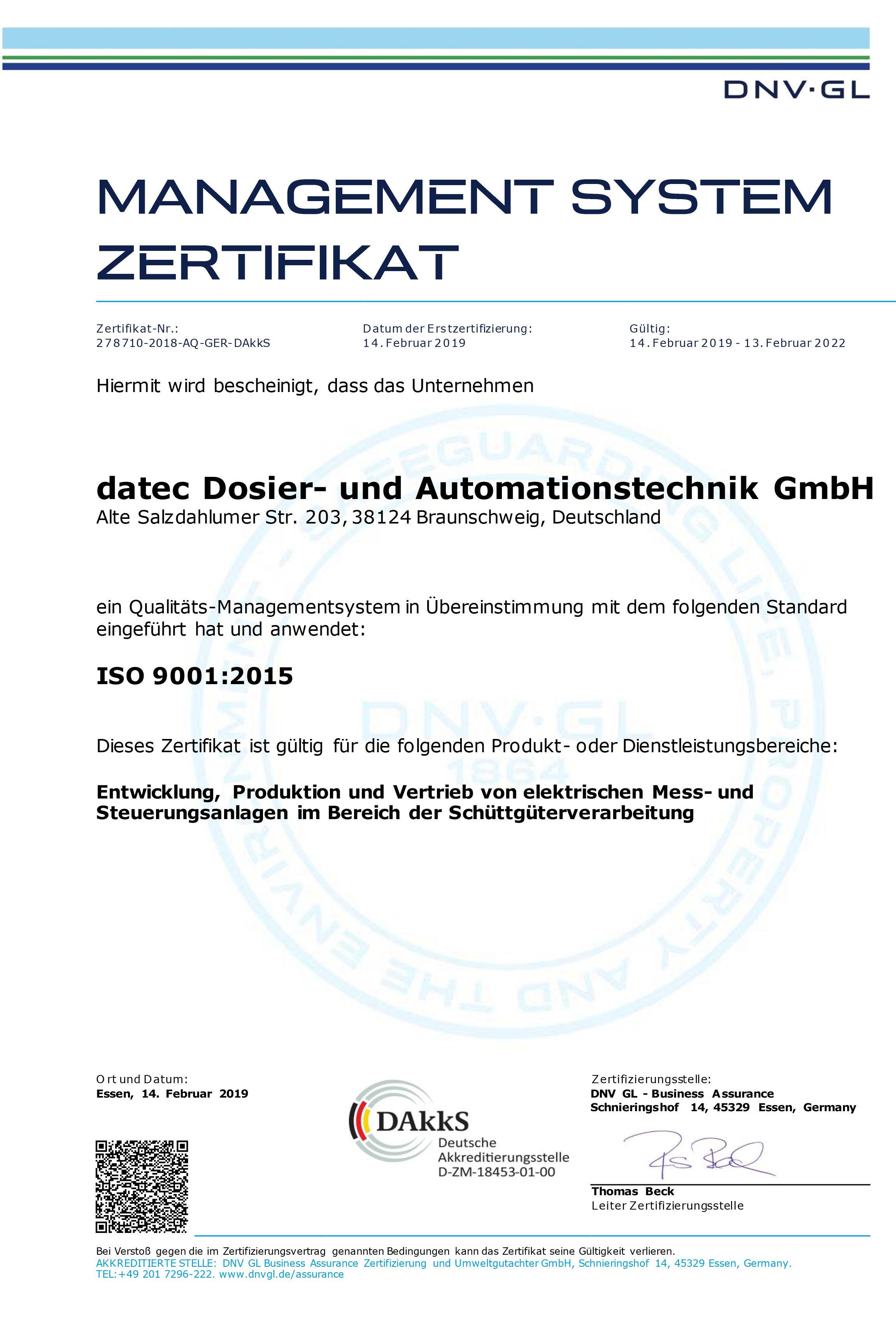 Qualitätsmanagement Zertifikat ISO 9001:2008